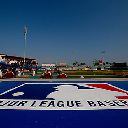 February 24, 2011; Clearwater, FL, USA; A detailed view of a major league baseball logo on the visitors dugout prior to a spring training exhibition game between the Philadelphia Phillies and Florida State University at Bright House Networks Field. Mandatory Credit: Derick E. Hingle