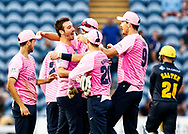 Toby Roland-Jones of Middlesex celebrates taking a hatrick<br /> <br /> Photographer Simon King/Replay Images<br /> <br /> Vitality Blast T20 - Round 4 - Glamorgan v Middlesex - Friday 26th July 2019 - Sophia Gardens - Cardiff<br /> <br /> World Copyright © Replay Images . All rights reserved. info@replayimages.co.uk - http://replayimages.co.uk