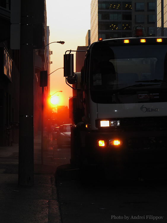 Pavement sweeping truck on the sunrise cleaning route in downtown Ottawa, June 15, 2011.