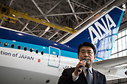 Holdings Inc. President and Chief Executive Officer Shinya Katanozaka speaks to the media after the welcome ceremony for newly hired employees at the company's hanger on April 1, 2017 in Tokyo, Japan. On April 1, 2017 in Tokyo, Japan. Japanese airlines ANA Holdings welcomed 2,800 new employees, the largest number to date for the company. As the majority of Japanese start their career on April 1st after graduating from schools in February or March, it is a custom for large Japanese corporations to hold mass welcoming ceremonies for their new employees.<br />  1/04/2017-Tokyo, JAPAN