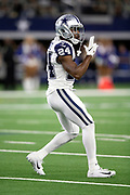 Dallas Cowboys cornerback Chidobe Awuzie (24) celebrates after the Cowboys break up a first quarter pass on third down and force a punt during the NFL week 13 regular season football game against the New Orleans Saints on Thursday, Nov. 29, 2018 in Arlington, Tex. The Cowboys won the game 13-10. (©Paul Anthony Spinelli)
