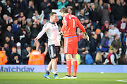 Fulham Striker, Ross McCormack (44) celebrating with Fulham goalkeeper, Marcus Bettinelli (01) during the Sky Bet Championship match between Fulham and Cardiff City at Craven Cottage, London, England on 9 April 2016. Photo by Matthew Redman.