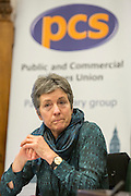 Liz Nelson of the Tax Justice Network speaking at the<br />  lauch of HMRC: Building an uncertain future - The cuts don't work. A report by the Public and Commercial Services Union and the Tax Justice Network. Committe room 17, The House of Commons. Westminster. 15th November 2016.