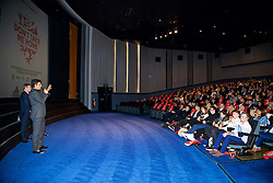 LONDON, ENGLAND - Monday, February 27, 2017: Wales manager Chris Coleman speaks to the audience at the the premier of Don't Take Me Home - the incredible true story of Wales' Euro 2016 at the Vue Cinema in Leicester Square. (Pic by David Rawcliffe/Propaganda)