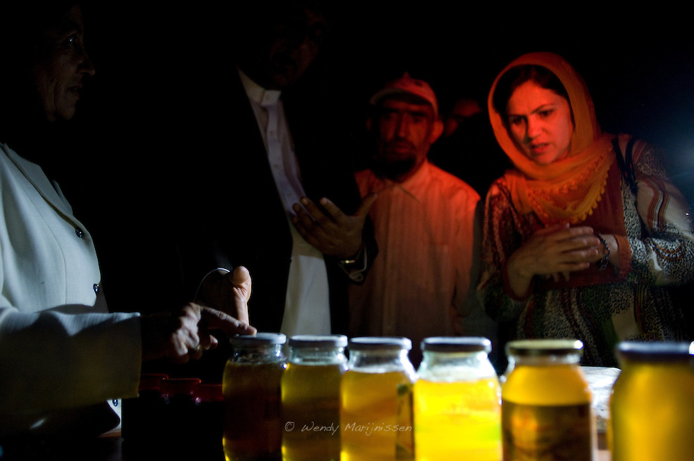 MP Ms. Fawzia Koofi gets information about self made honey by women and widows in the Women Garden of Faizabad. The project enables women to grow their own produce and start their own business. Afghanistan, 2012