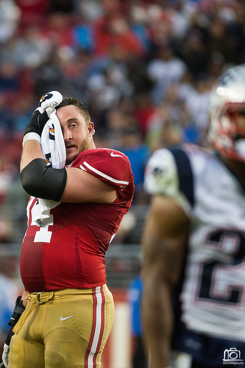 San Francisco 49ers tackle Joe Staley (74) wipes his face during a timeout against the New England Patriots at Levi's Stadium in Santa Clara, Calif., on November 20, 2016. (Stan Olszewski/Special to S.F. Examiner)
