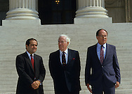Justice Scalia, Chief Justice Warren Burger, and Chief Juster William Rehnquist on the steps of the supreme Court in October 1986..Photograph by Dennis Brack bb 27