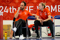 13-12-2019 JAP: Semi Final Netherlands - Russia, Kumamoto<br /> The Netherlands beat Russia in the semifinals 33-22 and qualify for the final on Sunday in Park Dome at 24th IHF Women's Handball World Championship / Bondscoach Emmanuel Mayonnade of Netherlands, Assistent Coach Ekaterina Andryushina of Netherlands