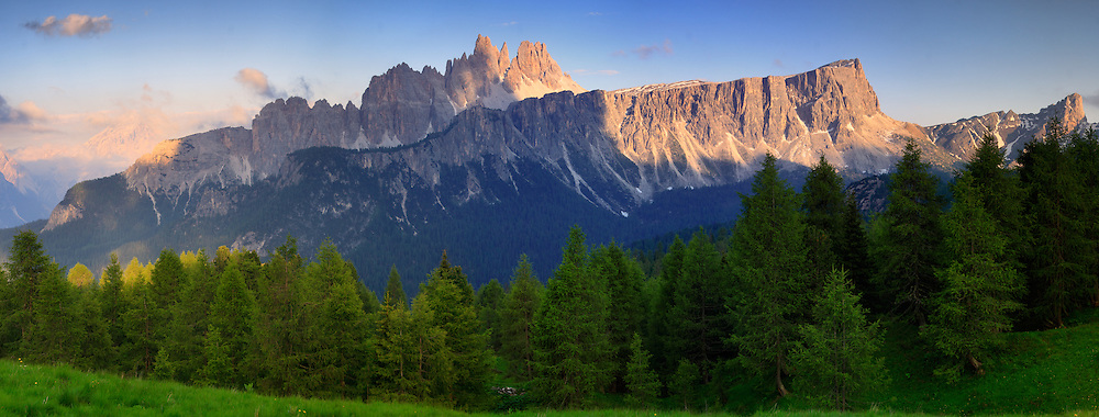 Croda da Lago and Lastoi de Formin as seen from the Cinque Torri. Taken at sunset from the fields surrounding the Cinque Torri Group, Dolomiti d'Ampezzo, Italy