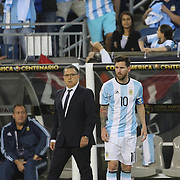 FOXBOROUGH, MASSACHUSETTS - JUNE 18:  Lionel Messi #10 of Argentina and Gerardo Martino, Manager of the Argentina National team during the Argentina Vs Venezuela Quarterfinal match of the Copa America Centenario USA 2016 Tournament at Gillette Stadium on June 18, 2016 in Foxborough, Massachusetts. (Photo by Tim Clayton/Corbis via Getty Images)