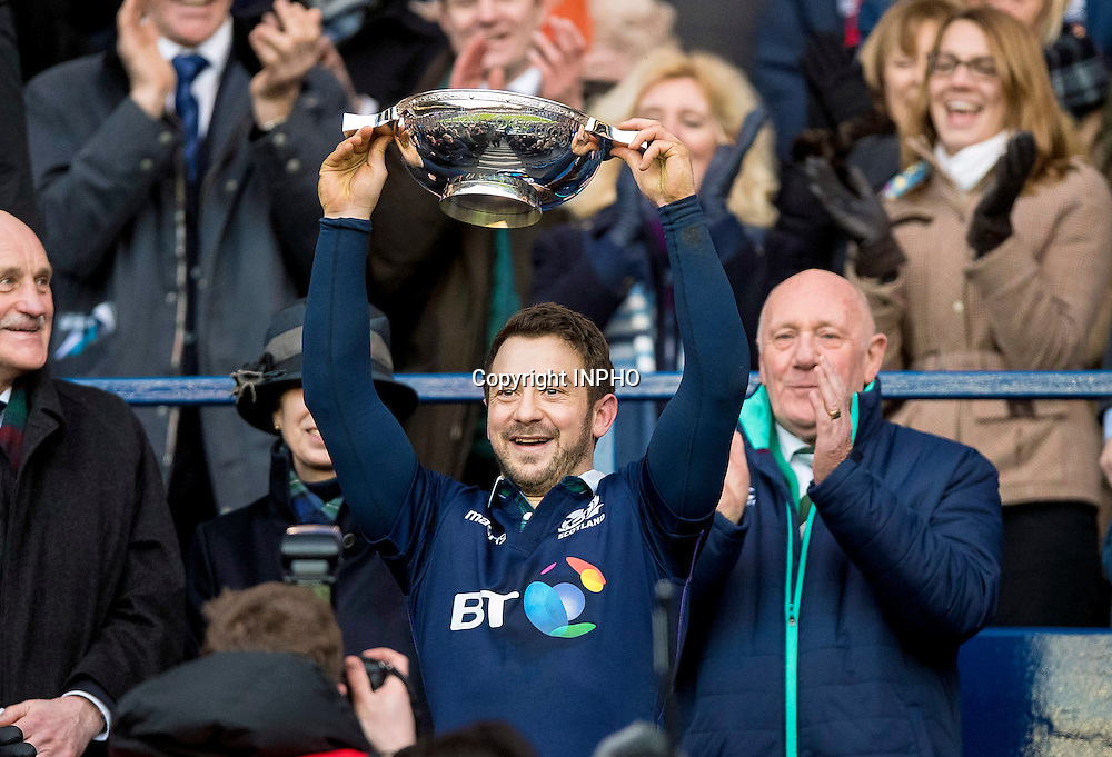 RBS 6 Nations Championship Round 1, BT Murrayfield, Scotland 4/2/2017<br /> Scotland vs Ireland<br /> Scotland's Greig Laidlaw lifts the Quaich trophy<br /> Mandatory Credit &copy;INPHO/Craig Watson