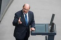 21 MAR 2019, BERLIN/GERMANY:<br /> Martin Schulz, MdB, SPD, haelt eine Rede, Bundestagsdebatte zur Regierungserklaerung der Bundeskanzlerin zum Europaeischen Rat, Plenum, Deutscher Bundestag<br /> IMAGE: 20190321-01-101