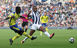 Idrissa Gueye of Everton (L) and Saido Berahino of West Bromwich Albion in action - Mandatory by-line: Jack Phillips/JMP - 20/08/2016 - FOOTBALL - The Hawthorns - West Bromwich, England - West Bromwich Albion v Everton - Premier League