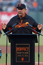 SAN FRANCISCO, CA - AUGUST 10: Bruce Bochy #15 of the San Francisco Giants speaks during a ceremony honoring the perfect game pitched by Matt Cain #18 (not pictured) on June 13, 2012  before the game against the Colorado Rockies at AT&T Park on August 10, 2012 in San Francisco, California. The Colorado Rockies defeated the San Francisco Giants 3-0. (Photo by Jason O. Watson/Getty Images) *** Local Caption *** Bruce Bochy