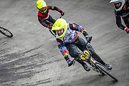 #141 during practice at the 2018 UCI BMX World Championships in Baku, Azerbaijan.