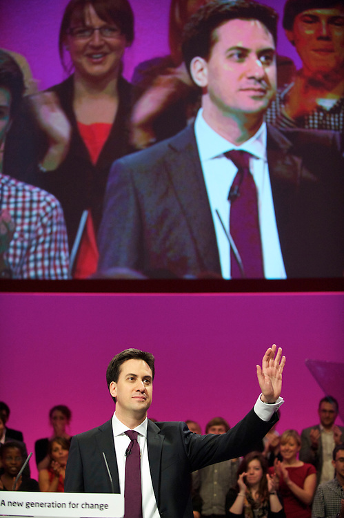 Ed Miliband takes the stage to address delgates with his leader's speech during the Labour Party Conference in Manchester on 28 September 2010.