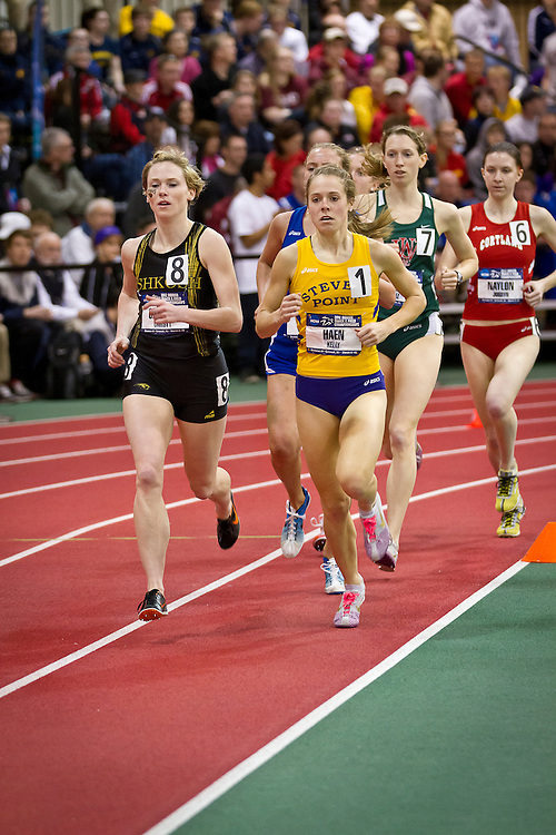 Wisconsin-Stevens Point runner Kelly Haen leads the pack during the Women's 1 Mile run competition on Friday at the NCAA Division III Indoor Track and Field National Championships at Grinnell College.
