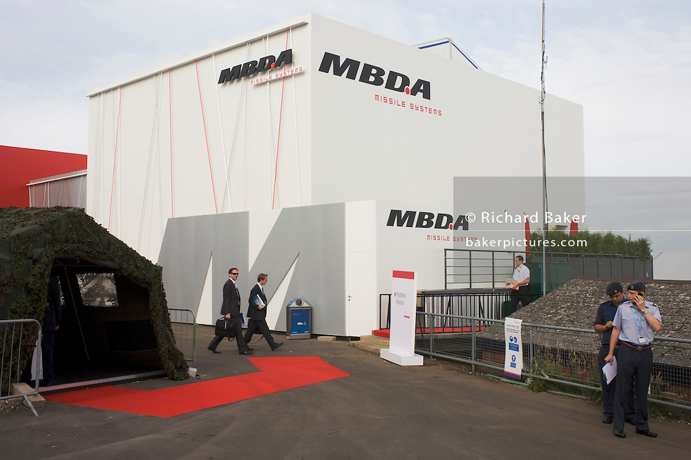 Missile systems manufacturer MBDA hospitality chalet at the Farnborough Airshow.