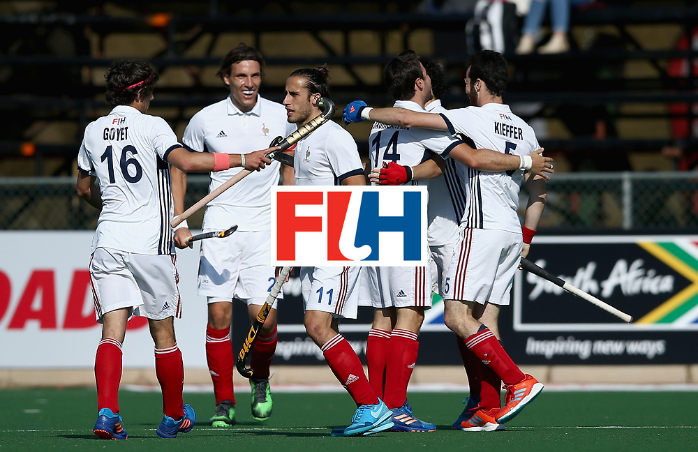 JOHANNESBURG, SOUTH AFRICA - JULY 13:  Gaspard Baumgarten of France celebrates scoring their teams second goal with teammates  during day 3 of the FIH Hockey World League Semi Finals Pool A match between Japan and France at Wits University on July 13, 2017 in Johannesburg, South Africa.  (Photo by Jan Kruger/Getty Images for FIH)