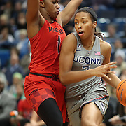 HARTFORD, CONNECTICUT- NOVEMBER 19: Megan Walker #3 of the Connecticut Huskies drives to the basket defended by Ieshia Small #1 of the Maryland Terrapins during the the UConn Huskies Vs Maryland Terrapins, NCAA Women's Basketball game at the XL Center, Hartford, Connecticut. November 19th, 2017 (Photo by Tim Clayton/Corbis via Getty Images)
