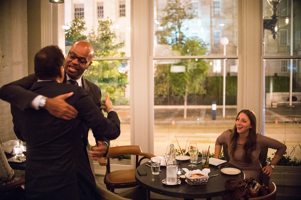 Photo by Matt Roth<br /> Assignment ID: 30142124A<br /> <br /> Restauranteur Ashok Bajaj says hello to couple Brian Jones and Samara Yudof as he ends his evening for dinner at Nopa, his newest restaurant in Washington, D.C. on Thursday, May 09, 2013.