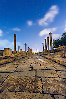 The Colonnaded Street at night, Greco-Roman ruins, Jerash, Jordan.
