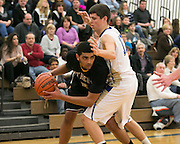 Anthony Lamb of Greece Athena is defended by Webster Schroeder's Chris McKrell during a game at Webster Schroeder High School on Friday, January 23, 2015.