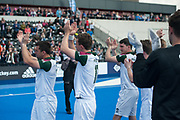 Surbiton acknowledge their supporters. Wimbledon v Surbiton - Men's Hockey League Final, Lee Valley Hockey & Tennis Centre, London, UK on 23 April 2017. Photo: Simon Parker