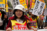 Akiko Hoshino, the wife of jailed activist, Fumiaki Hoshino who was arrested in 1975 for the alleged killing of a police officer during riots in Tokyo and sentenced to life imprisonment, leads a demo left wing activists and trade unions in Tokyo, Japan. Sunday November 3rd 2013