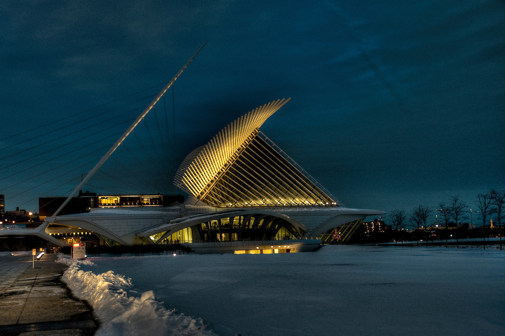 Lighted building Milwaukee Art Museum in winter