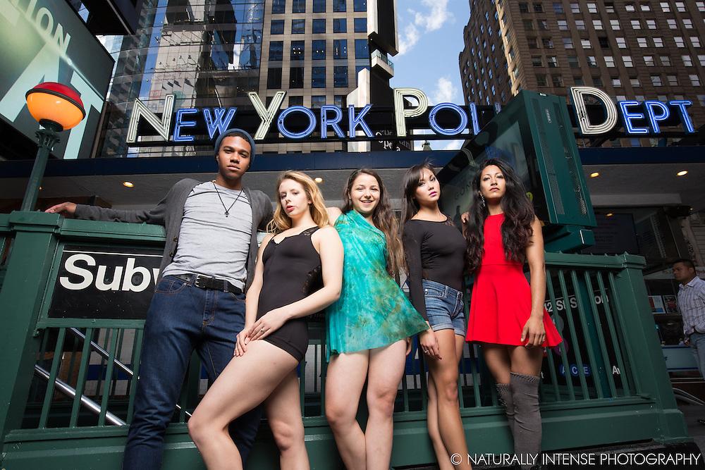 Ballerinas Sabrina Imamura, Angela Siler, Anna Polyachenko, Sylvana Tapia and Julian Watson- Times Square New York City. Dance As Art- The New York Photography Project.