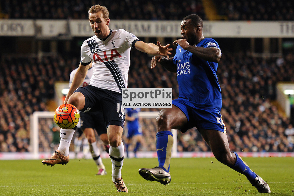 Tottenhams Harry Kane and Leciesters Wes Morgan in action during the Tottenham v Leciester City match in the Barclays Premier League on the 13th January 2016.
