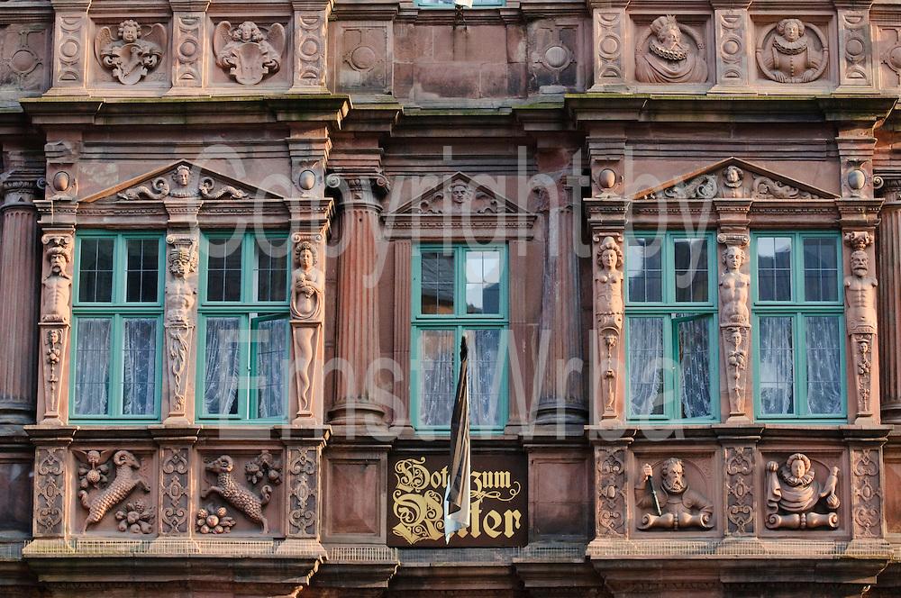 Heidelberg, Altstadt, Haus zum Ritter, Renaissance Fassade, Baden-Württemberg, Deutschland.| .Heidelberg, old town, Haus zum Ritter, Baden-Wurttemberg, Germany.