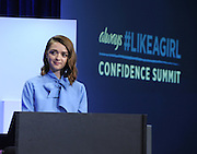 Actress and activist Maisie Williams emcees the Always #LikeAGirl Confidence Summit, Tuesday, July 7, 2015, in New York.  The new Always #LikeAGirl Unstoppable video encourages girls to smash any limitation that holds them back and aims to make them strong, confident and unstoppable. View the new video at https://youtu.be/VhB3l1gCz2E.  (Photo by Diane Bondareff/AP Images for Always)