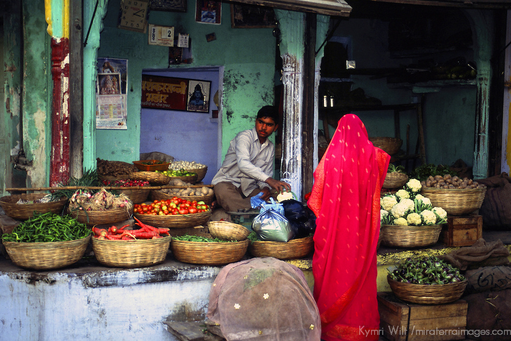 Asia, India, Ajmer. Woman in sari buys vegetables in local market in Rajasthan.