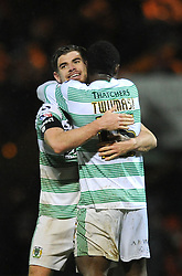 Yeovil Town's Joe Edwards celebrates at the final whistle with Yeovil Town's Nana Ofori-Twumasi - Photo mandatory by-line: Dougie Allward/JMP - Mobile: 07966 386802 - 16/12/2014 - SPORT - football - Yeovil - Huish Park - Yeovil Town v Accrington Stanley - FA Cup