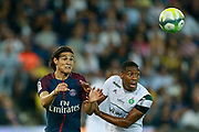 Paris Saint Germain's Uruguayan forward Edinson Cavani vies for the ball during the French championship L1 football match between Paris Saint-Germain (PSG) and Saint-Etienne (ASSE), on August 25, 2017 at the Parc des Princes in Paris, France - Photo Benjamin Cremel / ProSportsImages / DPPI
