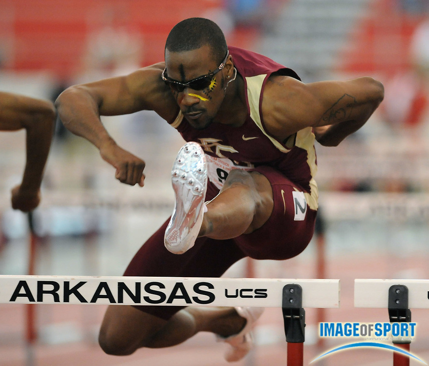Mar 14, 2008; Fayetteville, AR, USA; Drew Brunson of Florida State won the 60m hurdles in 7.53 in the NCAA indoor track and field championships at the Randal Tyson Center.