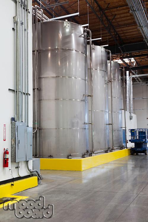 Large silos in bottling industry