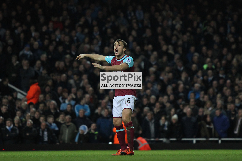Mark Noble of West Ham United screams out orders during the Barclays Premier League game against Manchester City. (c) Joshua Smith | SportPix.org.uk