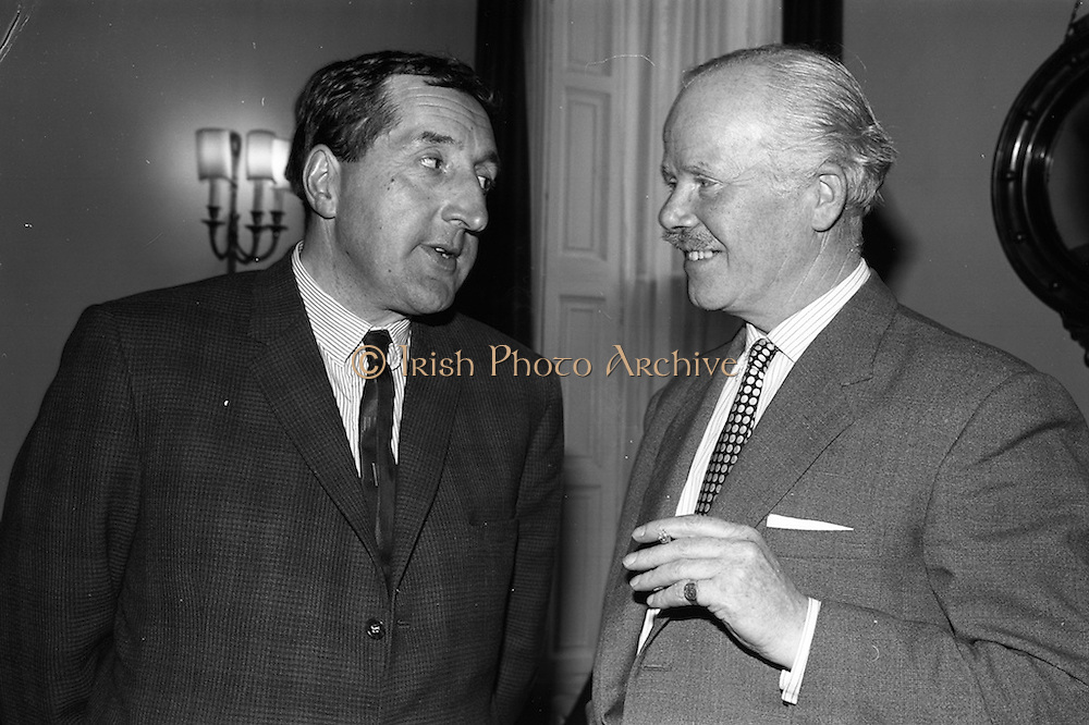 24/04/1965<br /> 04/24/1965<br /> 24 April 1965<br /> Ted Moult (BBC personality) in Dublin for launch of Fund raising Week for a Multiple Sclerosis Rest Centre at the Russell Hotel. He appeared on the Late Late Show that night. Picture shows Mr. Ted Moult (left) chatting with Mr. Ervin Stewart of Dublin, Chairman of the Multiple Sclerosis Society of Ireland