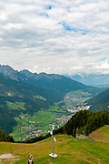 Neustift im Stubaital and Stubai Valley as seen from the summit of Elfer Mountain, Tyrol, Austria