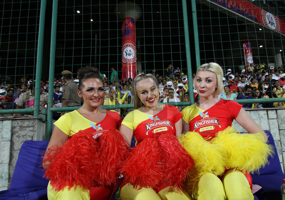 cheerleaders of Chennai Superkings  pose for a picture during match 26 of the Pepsi Indian Premier League Season 2014 between the Delhi Daredevils and the Chennai Superkings held at the Ferozeshah Kotla cricket stadium, Delhi, India on the 5th May  2014<br /> <br /> Photo by Arjun Panwar / IPL / SPORTZPICS<br /> <br /> <br /> <br /> Image use subject to terms and conditions which can be found here:  http://sportzpics.photoshelter.com/gallery/Pepsi-IPL-Image-terms-and-conditions/G00004VW1IVJ.gB0/C0000TScjhBM6ikg