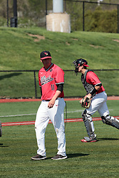 05 May 2018: Michael Kellar, Brent Headrick, and Tyson Hays during an NCAA Division I Baseball game between the Bradley Braves and the Illinois State Redbirds in Duffy Bass Field, Normal IL