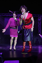 "ANAHEIM, CA - OCTOBER 8: Actors and comedians Adrian Uribe and Omar Chaparro perform on stage during the presentation of their comedy ""Los Imparables"" at the M3 Live in Anaheim, California on October 8, 2016.  Byline, credit, TV usage, web usage or linkback must read SILVEXPHOTO.COM. Failure to byline correctly will incur double the agreed fee. Tel: +1 714 504 6870."