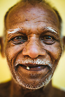 A portrait of an elderly Indian man in Goa, India.
