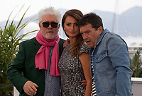 Director Pedro Almodóvar, Actress Penelope Cruz and Actor Antonio Banderas at Dolor Y Gloria (Pain and Glory) film photo call at the 72nd Cannes Film Festival, Saturday 18th May 2019, Cannes, France. Photo credit: Doreen Kennedy