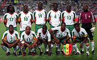 Fotball. VM 2002. 31.05.2002.<br />Frankrike v Senegal 0-1.<br />Senegals lag.<br />Bak fra venstre: FERDINAND COLY / KHALILOU FADIGA / PAPA BOUBA DIOP / PAPA MALICK DIOP / LAMINE DIATTA / TONY SYLVA .<br />Foran fra venstre: OMAR DAF / EL HADJI DIOUF / MOUSSA N'DIAYE / SALIF DIAO / ALIOU CISSE.<br />Foto: Guy Jeffroy, Digitalsport *** Local Caption *** 20000599