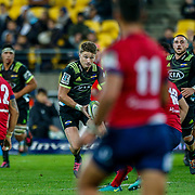 Beauden Barrett runs during the Super rugby union game (Round 14) played between Hurricanes v Reds, on 18 May 2018, at Westpac Stadium, Wellington, New  Zealand.    Hurricanes won 38-34.