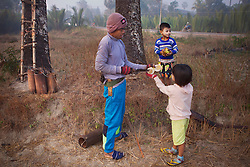Ko Aung Myo opens a delicious freshly collected coconut from the farm's palm trees for his children. At Ka Myaw Gyi village in the outskirts of Dawei, Myanmar.